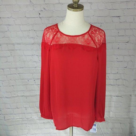Apt 9 Lacy & Fringe Blouse, Red, sz M, NWT